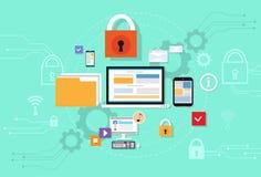 Segurança do armazenamento da nuvem dos dados do dispositivo do computador Imagens de Stock
