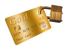 A segurança do cartão de crédito é o tema desta ilustração com um cartão de crédito e um cadeado ilustração royalty free
