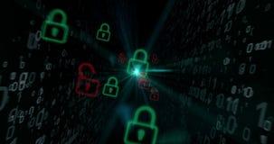 Segurança do Cyber com conceito dos cadeado filme