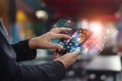 Segurança do Cyber Conceito da protecção de dados Segurança da operação bancária fotografia de stock