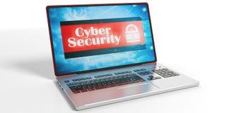 Segurança do Cyber em uma tela do portátil ilustração 3D Fotografia de Stock