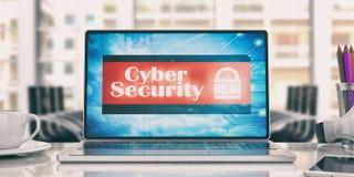 Segurança do Cyber no portátil em um escritório ilustração 3D Imagem de Stock Royalty Free