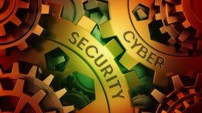 Segurança do Cyber do oncept do ¡ de Ð nas engrenagens Ouro e ilustração vermelha da ilustração 3d do fundo do weel da engrenagem ilustração do vetor