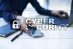 Segurança do Cyber, proteção de dados, segurança da informação e criptografia imagem de stock