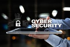 Segurança do Cyber, proteção de dados, segurança da informação e criptografia tecnologia do Internet e conceito do negócio imagem de stock royalty free