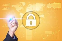 Segurança do Cyber, proteção de dados, segurança da informação e criptografia tecnologia do Internet e conceito do negócio foto de stock