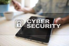 Segurança do Cyber, proteção de dados, segurança da informação e criptografia tecnologia do Internet e conceito do negócio ilustração do vetor
