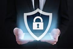 Segurança do Cyber, proteção de dados, segurança da informação Conceito da tecnologia do Internet Foto de Stock Royalty Free