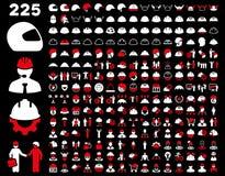 Segurança do trabalho e grupo do ícone do capacete Fotos de Stock Royalty Free