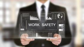 Segurança do trabalho, relação futurista do holograma, realidade virtual aumentada video estoque