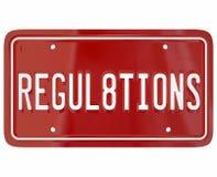 Segurança dos testes do carro da palavra da matrícula dos regulamentos auto Imagem de Stock