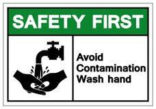 A segurança em primeiro lugar evita o sinal do símbolo da mão da lavagem da contaminação, ilustração do vetor, isolado na etiquet ilustração do vetor