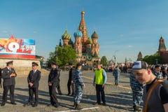 Segurança no regimento imortal em Moscou Foto de Stock Royalty Free