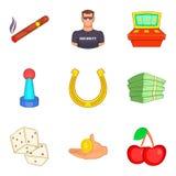 A segurança nos ícones do casino ajustou-se, estilo dos desenhos animados Fotos de Stock Royalty Free