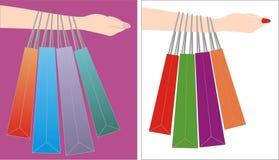Segurando o saco de compras Ilustração do Vetor