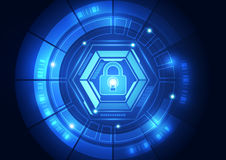Seguridad abstracta de la tecnología en el fondo de la red global, ejemplo del vector stock de ilustración