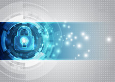 Seguridad abstracta de la tecnología en el fondo de la red global, ejemplo del vector Imagen de archivo libre de regalías