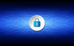 Seguridad abstracta de la tecnología en el fondo de la red global, vecto ilustración del vector