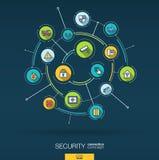 Seguridad abstracta, fondo del control de acceso Digitaces conectan el sistema con los círculos integrados, línea fina plana icon Fotos de archivo