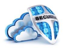 Seguridad abstracta y escudo de la nube stock de ilustración