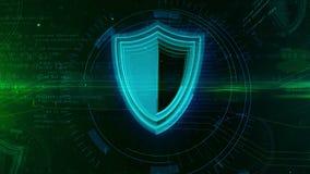 Seguridad cibernética con concepto del extracto del símbolo del escudo stock de ilustración