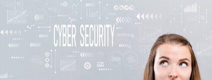 Seguridad cibernética con la mujer joven fotos de archivo libres de regalías