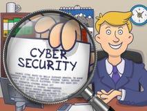 Seguridad cibernética a través de la lente Diseño del garabato stock de ilustración