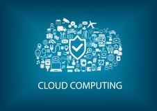 Seguridad computacional de la nube Seguridad en el concepto de la nube con los iconos en fondo borroso libre illustration