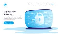 Seguridad de datos de Digitaces, encripción, concepto del vector de la protección La ilustración del vector