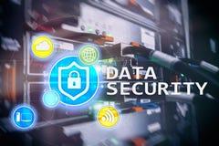 Seguridad de datos, prevención de la delincuencia cibernética, protección de información de Digitaces Cierre los iconos y el fond imagen de archivo