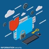 Seguridad de información, concepto del vector de la protección de la carpeta stock de ilustración