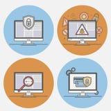Seguridad de Internet de los iconos del vector Fotografía de archivo libre de regalías