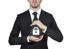 Seguridad de la cerradura del hombre de negocios fotografía de archivo libre de regalías