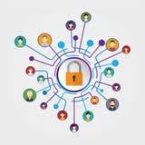 Seguridad de la conexión del círculo foto de archivo