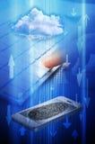 Seguridad de la nube del ordenador del teléfono celular Imágenes de archivo libres de regalías
