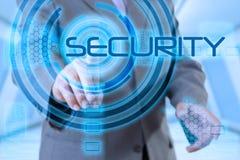 Seguridad de la pantalla táctil del hombre de negocios Fotos de archivo libres de regalías