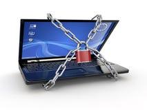 Seguridad de la PC. Computadora portátil con el encadenamiento y el bloqueo