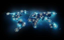Seguridad de la red global Imagen de archivo libre de regalías