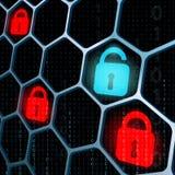 Seguridad de las cerraduras que brilla intensamente Imagenes de archivo