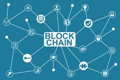 Seguridad de los elementos de Blockchain ilustración del vector