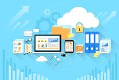Seguridad del almacenamiento de la nube de los datos del dispositivo del ordenador plana Fotos de archivo libres de regalías