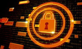 Seguridad del candado en el fondo de Digitaces Fotografía de archivo