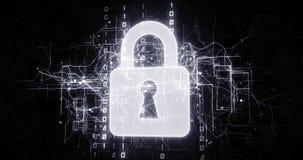 Seguridad del candado en red virtual del ciberespacio con c?digo binario libre illustration