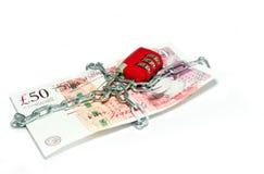 Seguridad del dinero de la libra británica Fotos de archivo