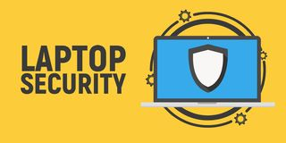 Seguridad del ordenador portátil - ejemplo del concepto del antivirus stock de ilustración
