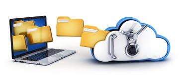Seguridad del ordenador portátil y de la nube stock de ilustración
