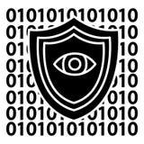 Seguridad del software - icono anti del virus, ejemplo del vector, muestra negra en fondo aislado Imagen de archivo