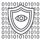 Seguridad del software, línea anti icono, muestra, ejemplo del vector del virus en el fondo, movimientos editable Imagen de archivo