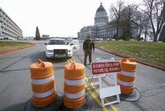 Seguridad durante 2002 olimpiadas de invierno, Salt Lake City, UT de la barricada Foto de archivo libre de regalías