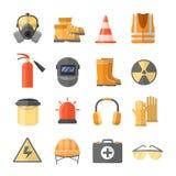 Seguridad en los iconos del vector del trabajo en un estilo plano Foto de archivo
